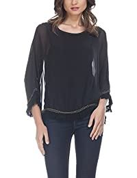 Laura Moretti - Blusa de seda de extragrande con flecos