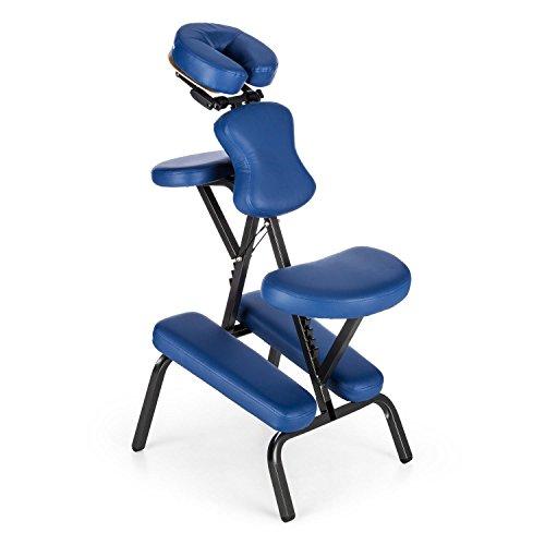 Klarfit MS 300 - Massagestuhl, Massageliege, Tattoostuhl, Sitz & Armablage verstellbar, Kopfstütze stufenlos drehbar, Bruststütze stufenlos verstellbar, Gesichtsloch, blau oder beige
