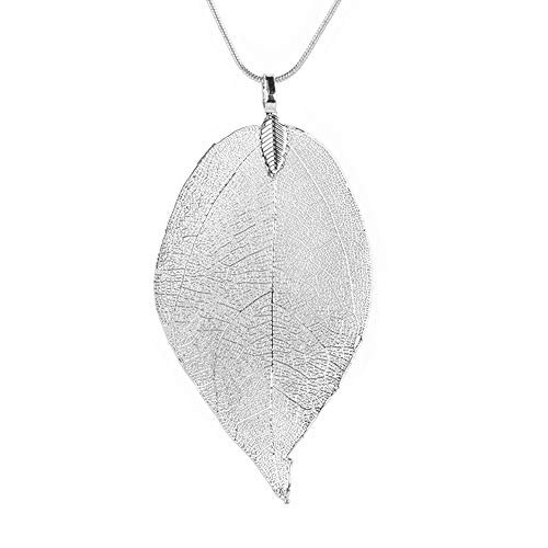 feiXIANG Blätter Anhänger Halskette Damen Lange Kette Strickjackekette Frau Schmuck (Silber,Freie Größe) (Passende Kreuz Eheringe)