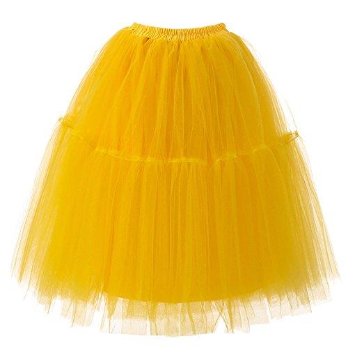 JMETRIC Tutu Damenrock Tüllrock 50er Kurz Ballet Tanzkleid Unterkleid Cosplay Crinoline Petticoat für Kleid(Gelb)