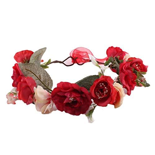 Xmiral Damen Haarband Mode Simulation Blume Hochzeit Girlande Haar Kopf für Frauen Baby Kinder Handgemachte Rose Blume Stirnband Kranz Kopfschmuck