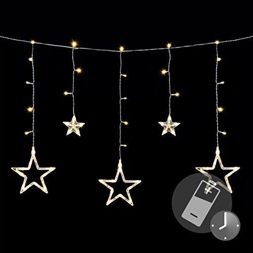 Sternenvorhang 61 LED warm weiß Lichterkette Lichtervorhang Fernbedienung Timer Batterie Partydeko 8 Funktionen Funktionslichterkette