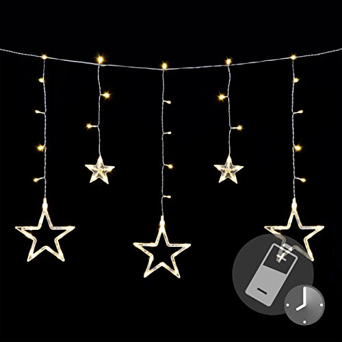 Stella Luminosa Di Natale.Stella Tenda 61 Led Bianco Caldo Luce Catena Tenda Luminosa Stella
