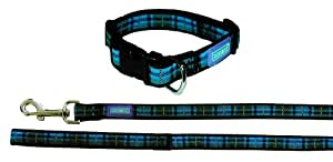 "Dog & Co Tartan Blue Dog Collar and Lead 3/4"" x 14-18""/1.9 x 35-45cm, 48""/120cm"