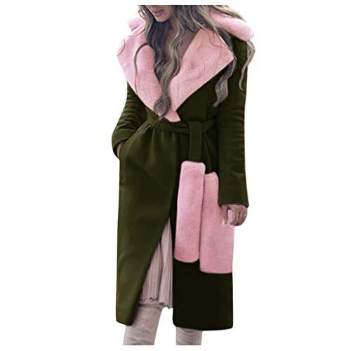 Toamen Donna Addensare Caldo Inverno Cappotto Eskimo Cappotto Lungo Giacca Outwear Trincea Rifiutare Collare di Lana Cappotto con Cintura(Army Green,XX-Large)