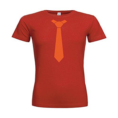 MDMA Frauen T-Shirt Classic Krawatte Schlips Tie N14-mdma-ftc00355-426 Textil red / Motiv orange / Gr. XXL (T-shirt-krawatte Classic)