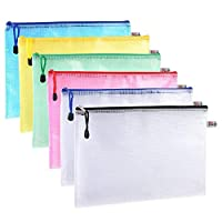 BMC LONDON A4 Plastic Wallet Zip File Document Bags for Offices School Supplies - 5 Colours (Pack of 12)