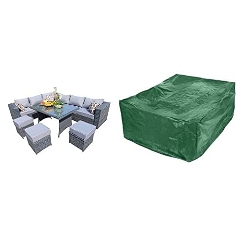 YAKOE 50005 papaver-1-5 144 x 84 x 68 cm 9 Seater Papaver Range Rattan Garden Furniture Corner Sofa and Dining Set - Grey & Premium Patio Table&Seat Cover 250x210x90 cm - PREMIUM QUALITY - Rectangular for Outdoor Furniture