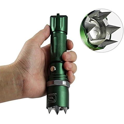 Foco ajustable linterna LED CREE Q5500lúmenes linterna táctica linterna Policía Militar linterna traje, Green with attack head
