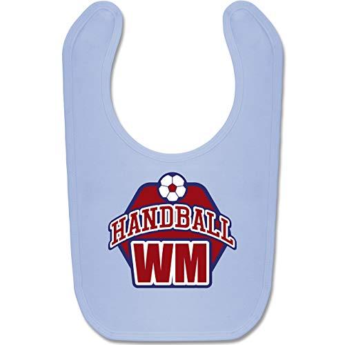 Shirtracer Handball WM 2019 Baby - Handball WM 2019 - Unisize - Babyblau - BZ12 - Baby Lätzchen Baumwolle
