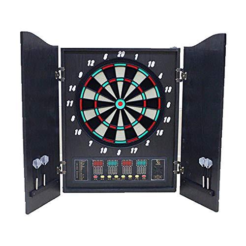 He-art Elektronische Dartscheibe 1-16 Spieler führte Bildschirm Traditionelle Doppelholztür Panel Elektrische Dartmaschine mit 12 Soft Darts 27 Hauptspiele 243 Unterspiele Dart Target,B