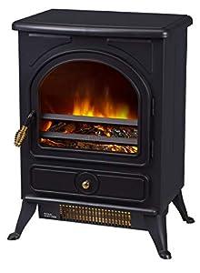 FoxHunter Electric Log Burner | Steel Flame Effect 3D Heater | Vintage Cast Iron Indoor Home Freestanding Woodburner Fireplace | Coal Burner Fire Fake Flame | 1800W - 187 Black