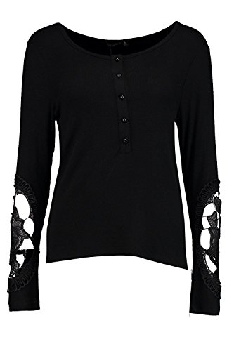 Noir Femmes Sally Rib Button Crochet Sleeve Top Noir