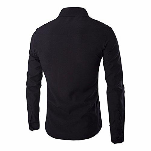 QIYUN.Z Les Hommes À Long Bouton Manches Mincir Ajustement Robe Chemise De Chemise Ordinaire Occasionnel Noir-75