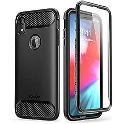 Clayco Funda iPhone XR, (Serie Xenon) de Envotura Completa con Protector de Pantalla Curvo para iPhone XR iPhone 6.1 Funda(Version 2018) (Negro)