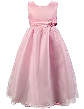 SMITHROAD Kinder Mädchen Prinzessin Blumenmädchen Kleid Lang Festlich Hochzeit Tüll mit Blumen Schleife Dekor...