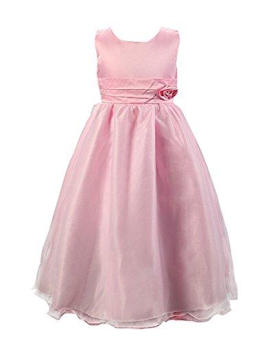 (SMITHROAD Kinder Mädchen Prinzessin Blumenmädchen Kleid Lang Festlich Hochzeit Tüll mit Blumen Schleife Dekor Ärmellos Pink Gr.116-122)