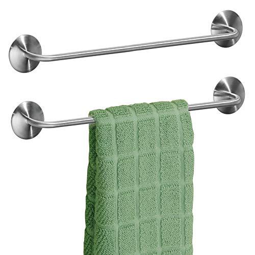 mDesign 2er-Set Handtuchhalter ohne Bohren - selbstklebende Handtuchstange aus gebürstetem Edelstahl - perfekt als Geschirrtuchhalter oder für Handtücher im Bad - mattsilberfarben