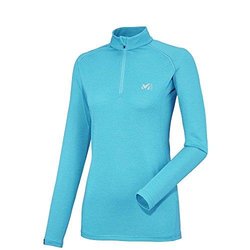 Millet - T-shirt Thermal Ld C Wool Blend 200 Zip Ls Blue Bird Femme - Femme - Bleu Bleu