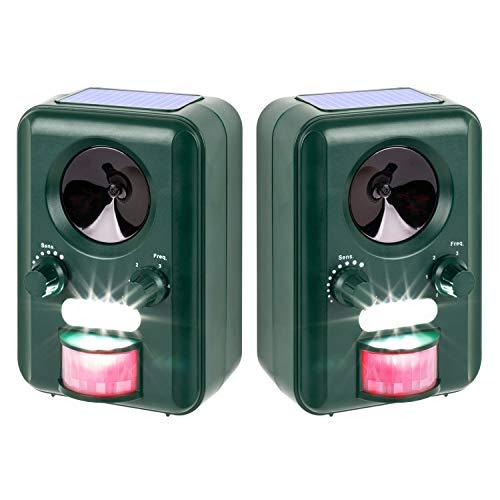 VOSS.sonic Ultraschallabwehr Katzenschreck Tierabwehr im Doppelpack 2000 Ultraschall Abwehr mit Solar + Blitzlicht -