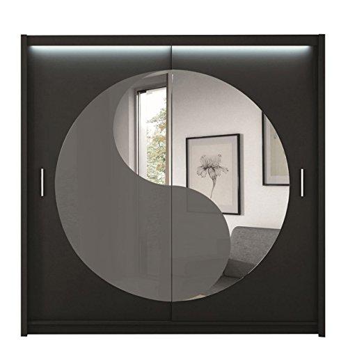 Schwebetürenschrank Lotos 203 Modernes Schlafzimmerschrank, Kleiderschrank mit Spiegel, Schiebetürenschrank, Garderobe, Schlafzimmer (schwarz/grau Glas + Spiegel)