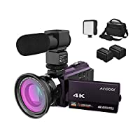 Andoer 4K Camcorder 1080P 48MP WiFi Digital Video Camera IR Night Sight 16X Digital Zoom with 0.39X Wide Angle Macro Lens,External Microphone,LED Video Light,2 Batteries and Camera Bag