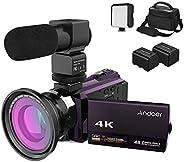 كاميرا فيديو رقمية من اندوير بدقة 4 كيه/ 48 ميجابكسل/ 1080 بي بالاشعة تحت الحمراء الليلية وتكبير 16 مرة وزاوية