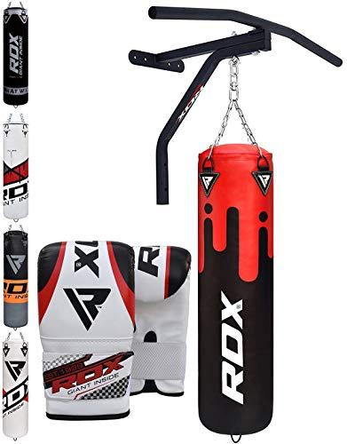 RDX Saco de Boxeo Relleno MMA Muay Thai Kick Boxing Artes Marciales con Soporte Pared y Barra Dominadas...