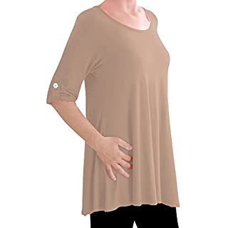 Eyecatch TM Oversize - Jessica Womens Tunic Plus Size Scoop Neck Ladies Flared Long Top Beige Size 18