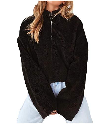 CuteRose Women Fleece Thick Turtleneck 1/4 Zip Casual Pullover Sweatshirt Black XS Aeropostale Zip