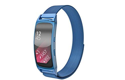 Aresh Armband für Samsung Gear Fit 2, Milanaise Loop, Edelstahl, Mesh, mit einzigartigem Magnetverschluss, blau