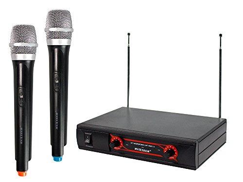 Vetrineinrete Kit microfoni dinamici UHF wireless senza filo con ricevitore 2 canali radiomicrofono per karaoke teatri eventi ampio raggio KIT MIC02