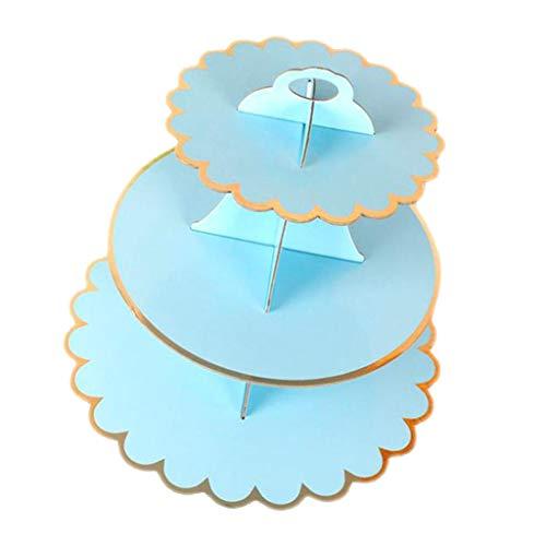P Prettyia Cupcake Muffin Dessert Ständer aus Papier für Kindergeburtstag, Hochzeit, Geburtstag - Blau