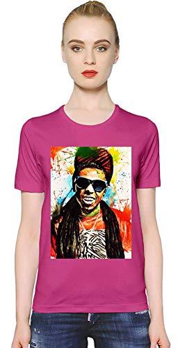 Lil Wayne Bunte Illustration - Colorful Illustration Women T-Shirt Girl Ladies Stylish Fashion Fit Custom Apparel by Large - Shirt Lil Rosa Wayne
