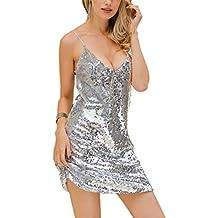 Huateng Vestito Sexy con Paillettes - Costume da Imbracatura da Donna 6b6203b7862