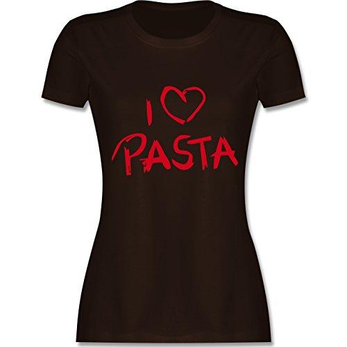 Küche - I Love Pasta - tailliertes Premium T-Shirt mit Rundhalsausschnitt für Damen Braun