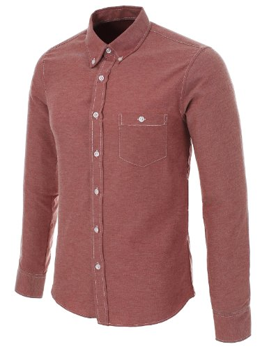 FLATSEVEN Homme Slim Fit Oxford Casual Chemise Wine