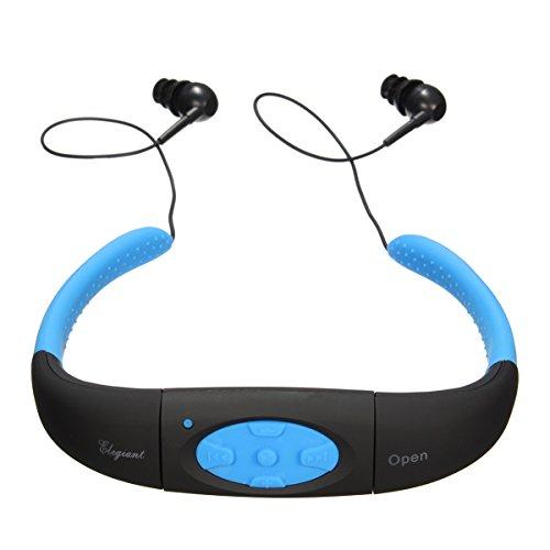 ELEGIANT Impermeabile Headset Sports MP3 Player di Musica Stereo Auricolare con Radio FM 4GB di Memoria per il Nuoto, 3-5 Meter Immersioni, Surf, Corsa, Sport, SPA, Spiaggia, Sport Esterni, Blu