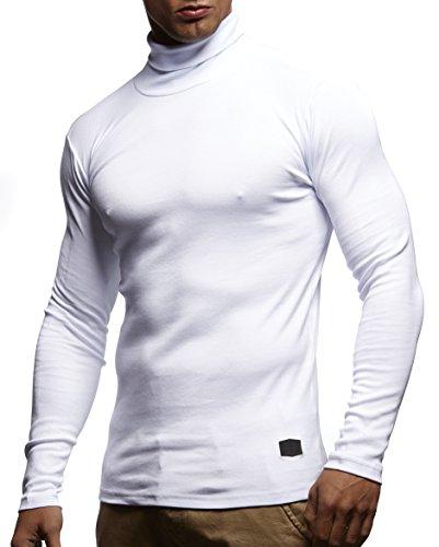 Herren Rollkragenpullover Pullover Rollkragen Hoodie T-Shirt Slim Fit; Größe M, Weiß (Männer Weiß Pullover Weste)
