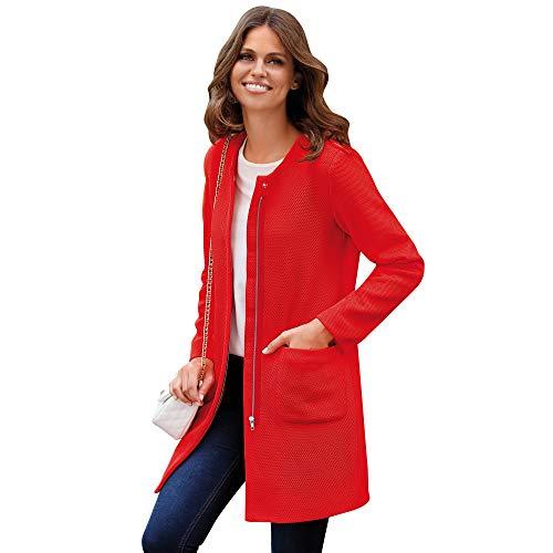 VENCA Abrigo Abertura Trasera en el bajo Mujer by Vencastyle - 022722,Rojo Coral,XS