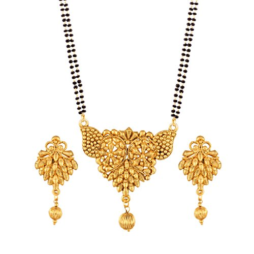 I Jewels Traditional Ethnic One Gram Gold Plated Mangalsutra Set with Earrings for Women D055