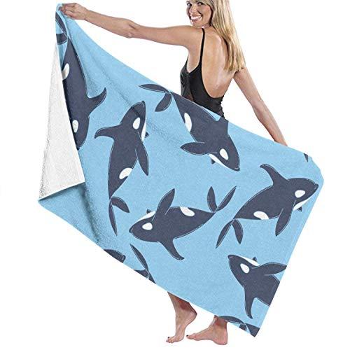 FSTGFFST Strandtücher für Damen und Herren, Ozean, Orca, Meereskiller Wal, schnelltrocknend, Mehrzweck-Reise-Pool-Decke, groß, 78,7 x 137,1 cm -