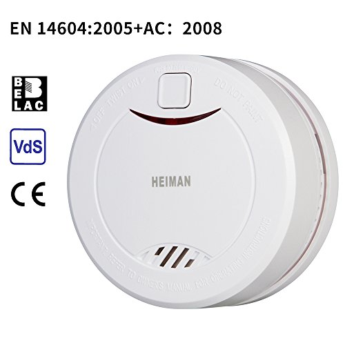 HEIMAN Independent Lithium Battery Powered Smoke Detector with Hush Mode and Test Button,Photoelectric Sensor Cordless Fire Alarm Fire Detector,EN14604 CE Certified Safety & Security-626PHS