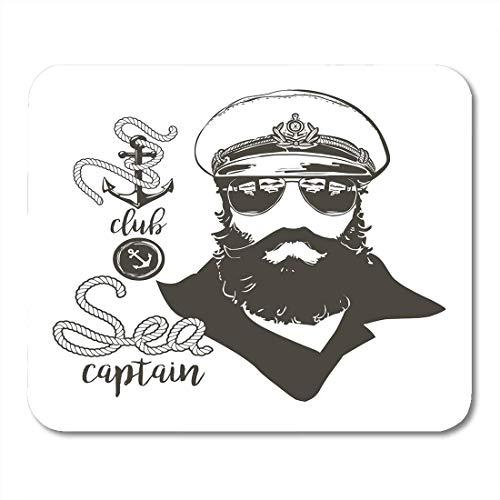 Luancrop Mauspads Porträt von Kapitän Beard Forage Cap Sonnenbrille Anchor Rope Vintage Nautical Clubs und Bars und Embleme Mauspad für Notebooks, Desktop-Computer Bürobedarf