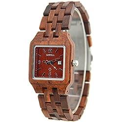 Bewell Holz Armbanduhr mit Kalender Display Einzigartige Armbanduhr Quarzuhr für Damen W130A (Ahornholz) (Rot)