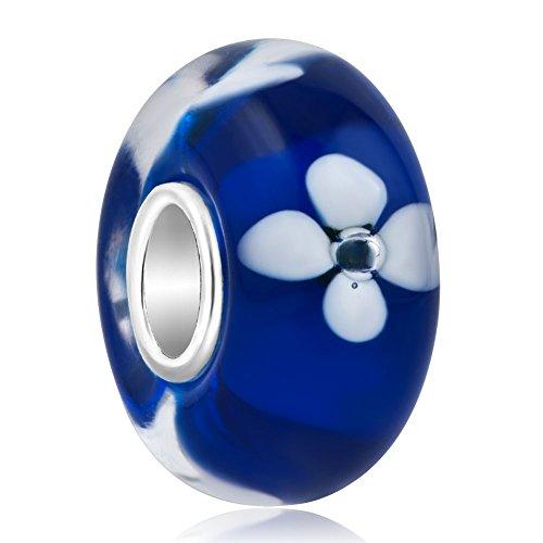 Korliya - pendente per bracciale a tema floreale, realizzato in vetro di murano e argento sterling 925 e argento, colore: blue, cod. emw_gbss_tjys254