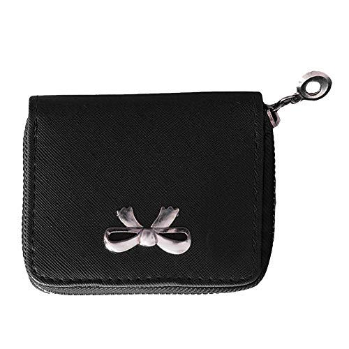 WFZ17 Münzgeldbörse für Damen, mit Reißverschluss, mit Schleife, Kunstleder, Mini-Kartenhalter schwarz Schwarz (Schwarze Damen-scheckheft Brieftasche)