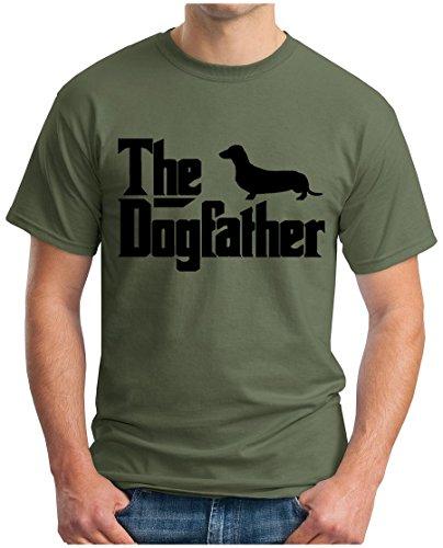 OM3 - The-Dogfather - T-Shirt Mafia Drugs Little Italy Geek The Godfather Fun Emo Hund Parodie, L, Oliv