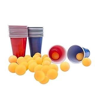 Smartweb 48-teiliges Beer Pong Set Bier Pong Trinkspiel mit 24 Bechern und 24 Bällen Partybecher