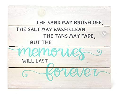 Collins Fresh and Original - Beach Memories Forever Holzschild, Wandbefestigung oder Tischsitz, 25,4 cm breit x 20,3 cm hoch